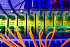 Los cables de fribra óptica conectaron con puertos y los cables ópticos de la red de UTP Foto de archivo