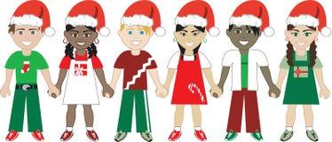 Los cabritos de la Navidad unieron 3 Imágenes de archivo libres de regalías