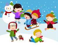 Los cabritos ensamblan nieve Imagen de archivo libre de regalías