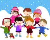 Los cabritos ensamblan nieve stock de ilustración