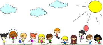 Los cabritos lindos felices juegan, bailan, saltan, stock de ilustración