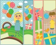 Los cabritos Party y las banderas del cumpleaños Imagen de archivo libre de regalías