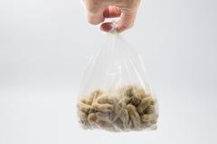 Los cacahuetes cocidos al vapor agrietaron la cáscara, bocado local tailandés foto de archivo libre de regalías