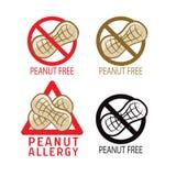Los cacahuetes liberan el sistema de símbolo I ` m alérgico Ejemplos del vector en un fondo blanco Los cacahuetes liberan los pos Fotos de archivo libres de regalías