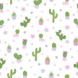 Los cactus coloridos y blancos del vector van de fiesta el fondo inconsútil del modelo foto de archivo libre de regalías
