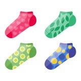 Los calcetines coloridos del diseño plano fijaron la selección del ejemplo del vector de paño caliente del diverso pie del algodó Fotografía de archivo libre de regalías