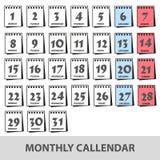 Los calendarios de pared mensuales con los iconos de los días fijaron eps10 libre illustration