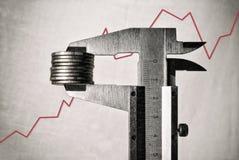 Los calibradores que miden renta financiera de las monedas benefician el primer en el fondo del diagrama del horario Fotos de archivo