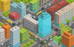 Los caminos y el tráfico 3d isométrico de las calles de la ciudad de los edificios vector el paisaje de la ciudad del ejemplo, vi ilustración del vector