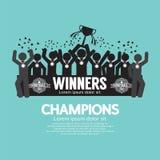Los campeones del fútbol o del fútbol de la taza del ganador Foto de archivo libre de regalías