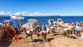 Los campesinos bolivianos llegaron por el transbordador, recolectado en la orilla del lago Titicaca con los burros cargados pesad imagen de archivo