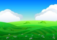 Los campos hermosos ajardinan con un amanecer, colinas verdes, cielo azul del color brillante, fondo en estilo plano de la histor ilustración del vector