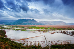 Los campos inundados y las cosechas con las nubes dramáticas Foto de archivo libre de regalías
