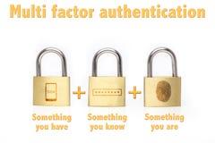 Los candados multi de la autentificación del factor que es el concepto saben y tienen foto de archivo libre de regalías