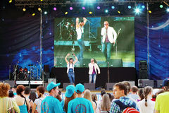Los cantantes se realizan en abierto Imagenes de archivo