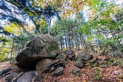 Los cantos rodados glaciales en Franconia hacen muescas en el parque de estado, New Hampshire fotografía de archivo libre de regalías