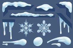 Los carámbanos congelados hielan y nievan los elementos del diseño del invierno libre illustration