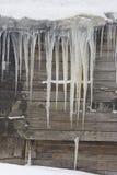 Los carámbanos enormes cuelgan del tejado de la casa vieja Fotografía de archivo libre de regalías