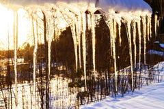 Los carámbanos hermosos brillan en sol contra el cielo azul paisaje de la primavera con los carámbanos del hielo que cuelgan del  Imágenes de archivo libres de regalías