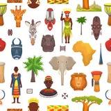 Los caracteres africanos del vector de la cultura en ropa tradicional en África con la máscara tribal étnica o tambores en safari Imagen de archivo
