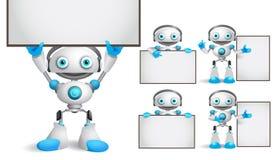 Los caracteres blancos del vector del robot fijaron tablero blanco en blanco vacío derecho y de la tenencia stock de ilustración