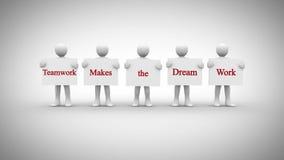 Los caracteres blancos que muestran las muestras que dicen trabajo en equipo hacen el trabajo ideal stock de ilustración
