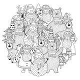 Los caracteres de la Navidad circundan el modelo de la forma para el libro de colorear ilustración del vector