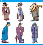 Los caracteres de los hombres fijaron el ejemplo de la historieta Foto de archivo libre de regalías