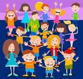 Los caracteres de los niños y de las adolescencias de la historieta aprietan ilustración del vector