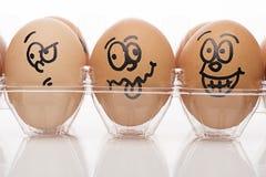 Los caracteres del huevo se cierran para arriba Fotografía de archivo