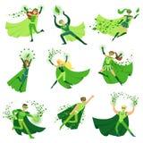 Los caracteres del super héroe de ECO en sistema de la acción, hombres jovenes y mujeres en cabos verdes vector ejemplos ilustración del vector