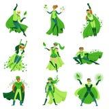 Los caracteres del super héroe de ECO fijan, los hombres jovenes y las mujeres en diversas actitudes con los cabos verdes vector  stock de ilustración