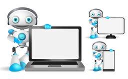 Los caracteres del vector del robot fijaron sostener el ordenador portátil, teléfono móvil stock de ilustración