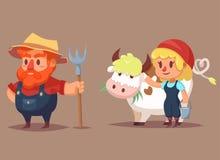 Los caracteres divertidos del granjero de la historieta sirven el ejemplo del clip art del vector de la vaca de la mujer Foto de archivo libre de regalías