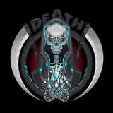Los caracteres esqueléticos del parca de la muerte con la guadaña simbolizan a Logo Holding Human Soul Fotos de archivo libres de regalías
