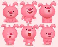 Los caracteres rosados del emoji del conejito fijaron con diversas emociones ilustración del vector