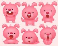 Los caracteres rosados del emoji del conejito fijaron con diversas emociones libre illustration