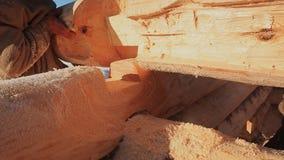 Los carpinteros de trabajo conectan registros Albañilería canadiense del ángulo Estilo canadiense Casa de madera hecha de registr almacen de video