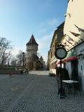 Los carpinteros se elevan en el viejo centro de ciudad de Sibiu Fotografía de archivo
