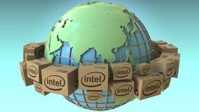 Los cartones con el logotipo de Intel en todo el mundo, Asia acentuaron Representación conceptual del editorial 3D libre illustration