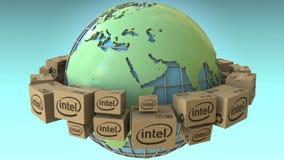Los cartones con el logotipo de Intel en todo el mundo, Europa y África acentuaron Representación conceptual del editorial 3D libre illustration