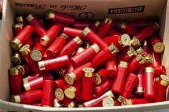 Los cartuchos de la caza son rojos en la caja imagenes de archivo