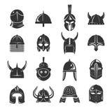 Los cascos del guerrero fijaron iconos en el fondo blanco Foto de archivo