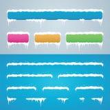 Los casquillos de la nieve fijaron en barra de menús y los botones del sitio Decoración del Año Nuevo Foto de archivo