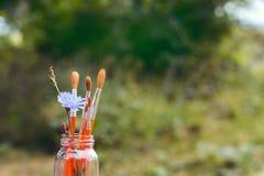 Los cepillos con la achicoria florecen en una botella en el fondo del gra Fotografía de archivo libre de regalías