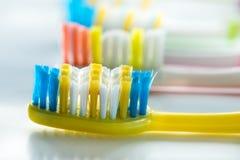 Los cepillos de dientes coloridos son mismo primer Imágenes de archivo libres de regalías