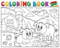 Los cerdos del libro de colorear dos acercan a la granja Imágenes de archivo libres de regalías