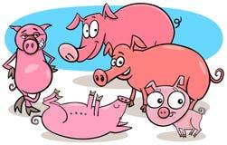 Los cerdos divertidos campo personajes de dibujos animados del animal libre illustration