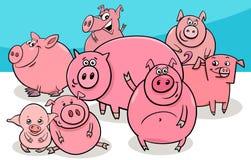 Los cerdos felices campo personajes de dibujos animados del animal ilustración del vector