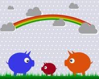Los cerdos y el arco iris Imagen de archivo
